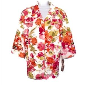 TanJay floral dress coat 3/4 sleeve NWT 20W